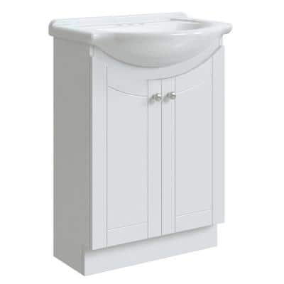 Highmont 24 in. W x 17-1/8 in. D Bath Vanity in Linen White with Porcelain Vanity Top in Solid White with White Basin