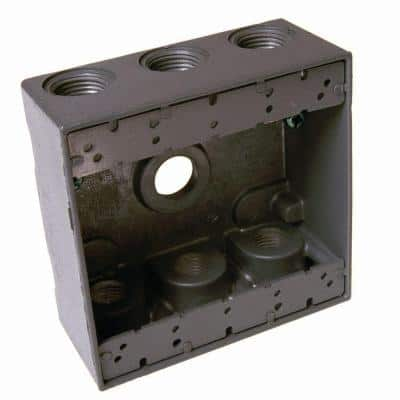 2-Gang Gray Weatherproof Box with Seven 3/4 in. Outlets