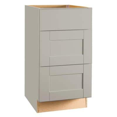 Shaker Assembled 18x34.5x24 in. Drawer Base Kitchen Cabinet with Ball-Bearing Drawer Glides in Dove Gray