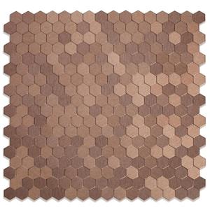 Hexagonia DC Dark Copper 11.89 in. x 11.46 in. x 5 mm Metal Self-Adhesive Wall Mosaic Tile (0.95 sq.ft./Each)