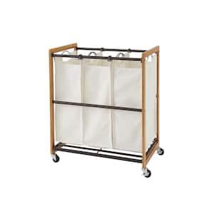 EcoStorage Wheeled 3-Bag Bamboo Laundry Cart