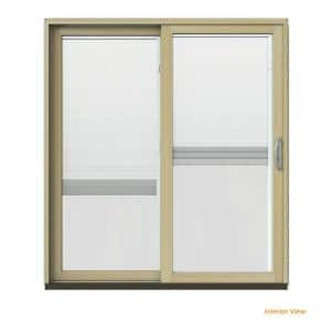 72 in. x 80 in. W-2500 Contemporary Brown Clad Wood Left-Hand Full Lite Sliding Patio Door w/Unfinished Interior