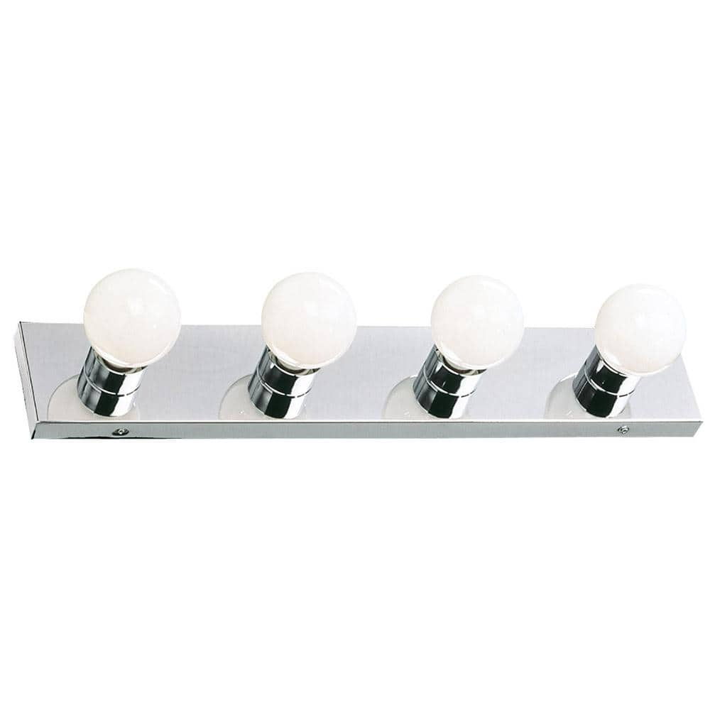 Design House Contemporary 4 Light Indoor Vanity Light Dimmable For Bathroom Bedroom Vanity Makeup Polished Chrome 500892 The Home Depot