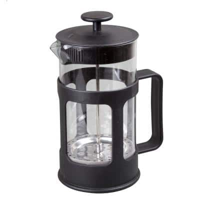 1000 ml (34 oz.) 4 Cups Glass French Press Coffee Plunger Tea Maker for loose tea leaves or coffee, Black