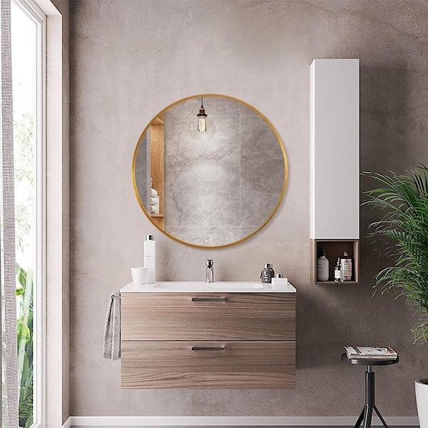 Neu Type Medium Round Gold Shelves Drawers Modern Mirror 24 In H X 24 In W Jj00514zzen 1 The Home Depot