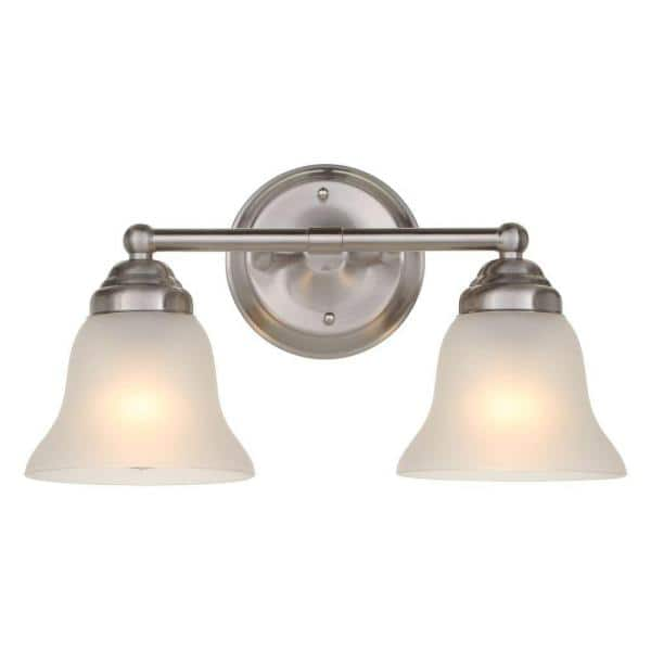 Hampton Bay Ashhurst 2 Light Brushed Nickel Vanity Light With Frosted Glass Shades Egm1392a 3 Bn The Home Depot