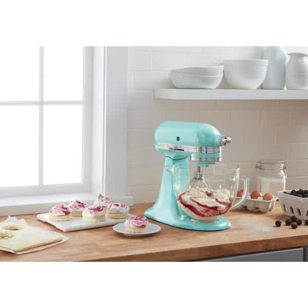 KitchenAid - Artisan Designer 5 Qt. 10-Speed Azure Blue Stand Mixer with Glass Bowl