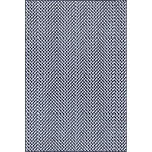 Camryn Abstract Herringbone Navy 5 ft. x 8 ft. Indoor/Outdoor Area Rug