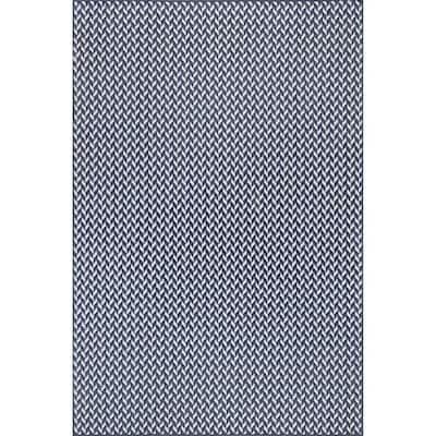 Camryn Abstract Herringbone Navy 9 ft. 6 in. x 12 ft. Indoor/Outdoor Area Rug