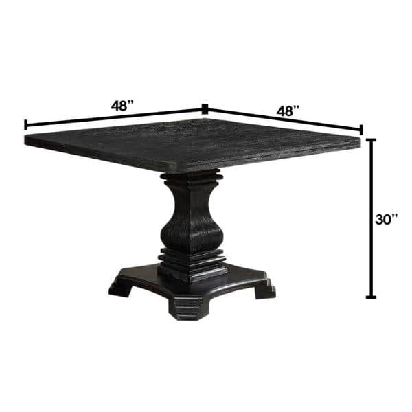 William S Home Furnishing Nerissa Square Antique Black Dining Table Cm3840t 48 The Depot