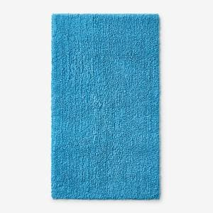 Company Cotton Chunky Loop Turquoise 17 in. x 24 in. Bath Rug