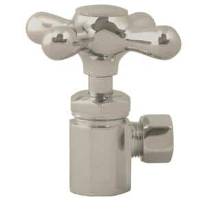 1/2 in. IPS x 3/8 in. O.D. Compression Outlet Angle Stop, Satin Nickel