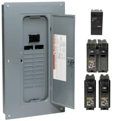 Homeline 100 Amp 20-Space 40-Circuit Indoor Main Breaker Qwik-Grip Plug-On Neutral Load Center with Surge SPD Value Pack