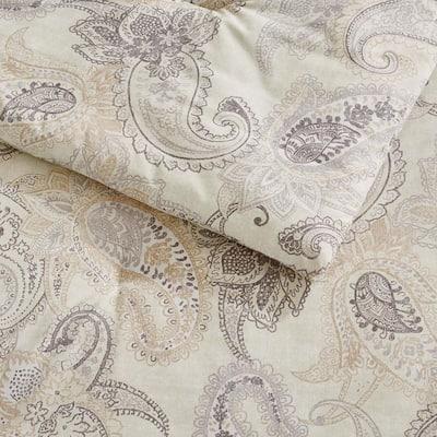 Lora 3-Piece Oatmeal Paisley Comforter Set
