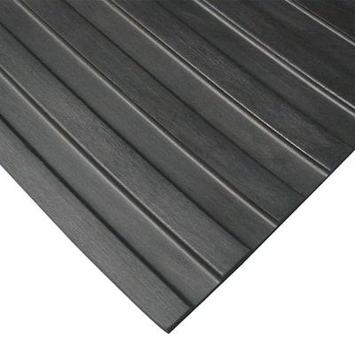 Corrugated Wide Rib 3 ft. x 6 ft. Black Rubber Flooring (18 sq. ft.)