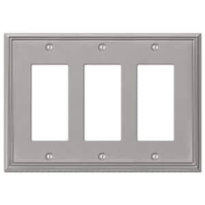 Rhodes 3 Gang Rocker Metal Wall Plate - Brushed Nickel