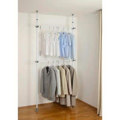Herkules Basic 4.33 in. D x 47.24 in. W x 118.11 in. H White Powder-Coated Steel Tension Mount Closet System