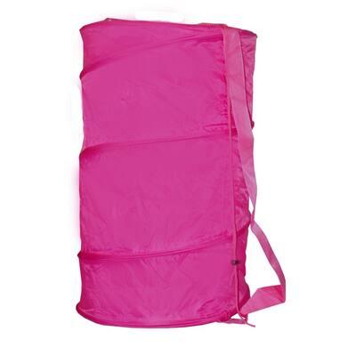 Pink Collapsible Nylon Barrel Laundry Hamper