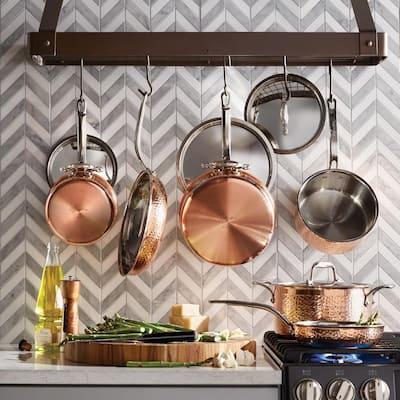 Martellata 10-Piece Copper Cookware Set in Copper