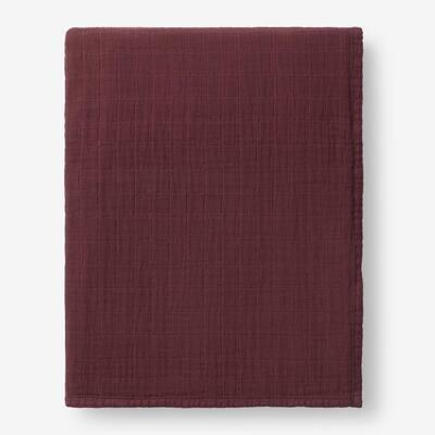 Gossamer Plum Solid Cotton Queen Woven Blanket