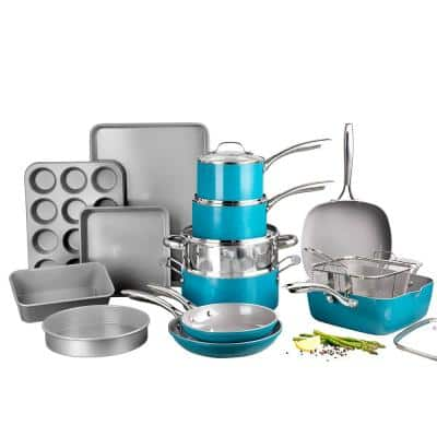 20-Piece Ocean Blue Aluminum Ti-Ceramic Nonstick Cookware and Bakeware Set