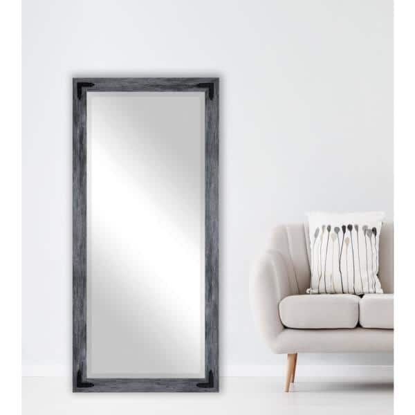 Oversized Grey Composite Beveled Glass Rustic Mirror 71 In H X 30 5 In W Rr064 Xt Bcb The Home Depot