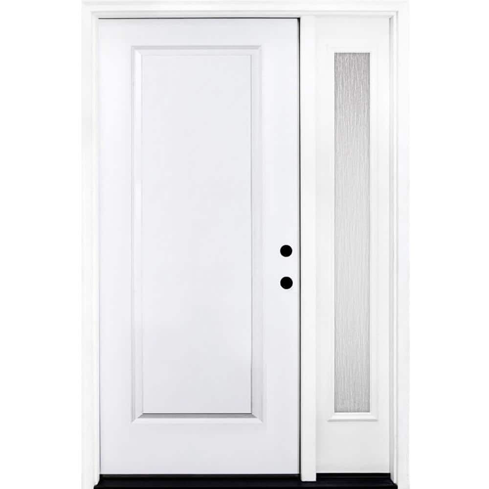 Steves Sons 53 In X 80 In Classic 1 Panel Lhis Primed White Steel Prehung Front Door With Single 14 In Rain Glass Sidelites St10 Pr S14rn 4lh The Home Depot
