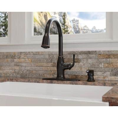 Rosslyn Single-Handle Pull-Down Sprayer Kitchen Faucet with Soap Dispenser in Tuscan Bronze