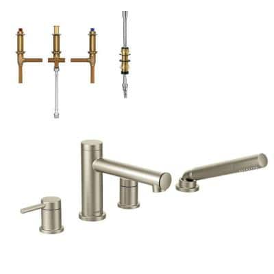 Align 2-Handle Deck Mount Roman Tub Faucet with Handshower in Brushed Nickel (Valve Included)