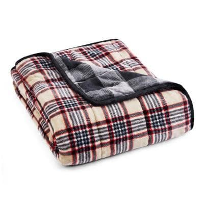 Taupe Plaid Shiny Velvet to Shiny Velvet 50 in. x 60 in. x 12 lbs. Weighted Throw Blanket
