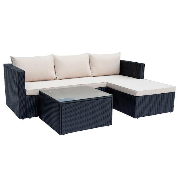 Maypex Black 3 Piece Wicker Outdoor, Patio Furniture 3 Piece Sectional Sofa Resin Wicker Beige