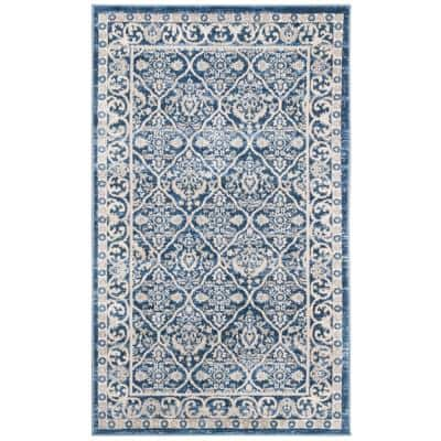 Brentwood Navy/Light Gray 3 ft. x 5 ft. Geometric Floral Border Area Rug