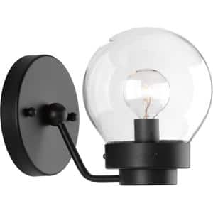 Spatial Collection 1-Light Matte Black Clear Glass Global Bath Vanity Light