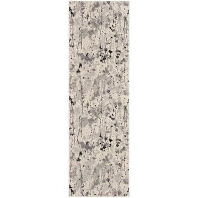 Evoke Ivory/Gray 2 ft. x 7 ft. Abstract Runner Rug
