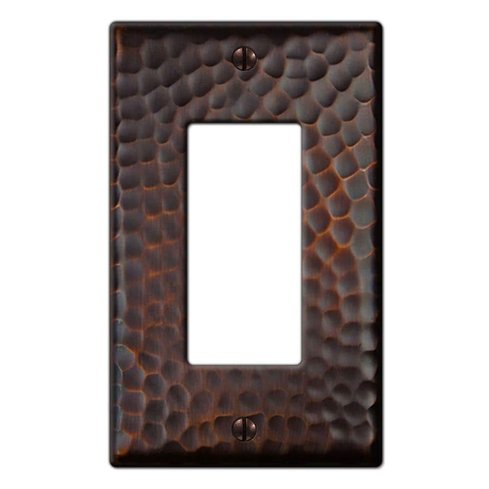 Hampton Bay Hammered 1 Gang Rocker Metal Wall Plate Aged Bronze 156rdbhb The Home Depot