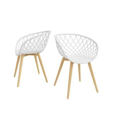 Kurv White Arm Chair with Natural Legs (Set of 2)