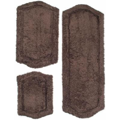 Memory Foam Chocolate 22 in. x 60 in., 21 in. x 34 in. and 17 in. x 24 in. 3-Piece Paradise  Bath Rug Set