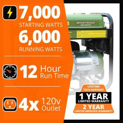 7,000/6,000-watt Gasoline Powered Electric Start Portable Generator