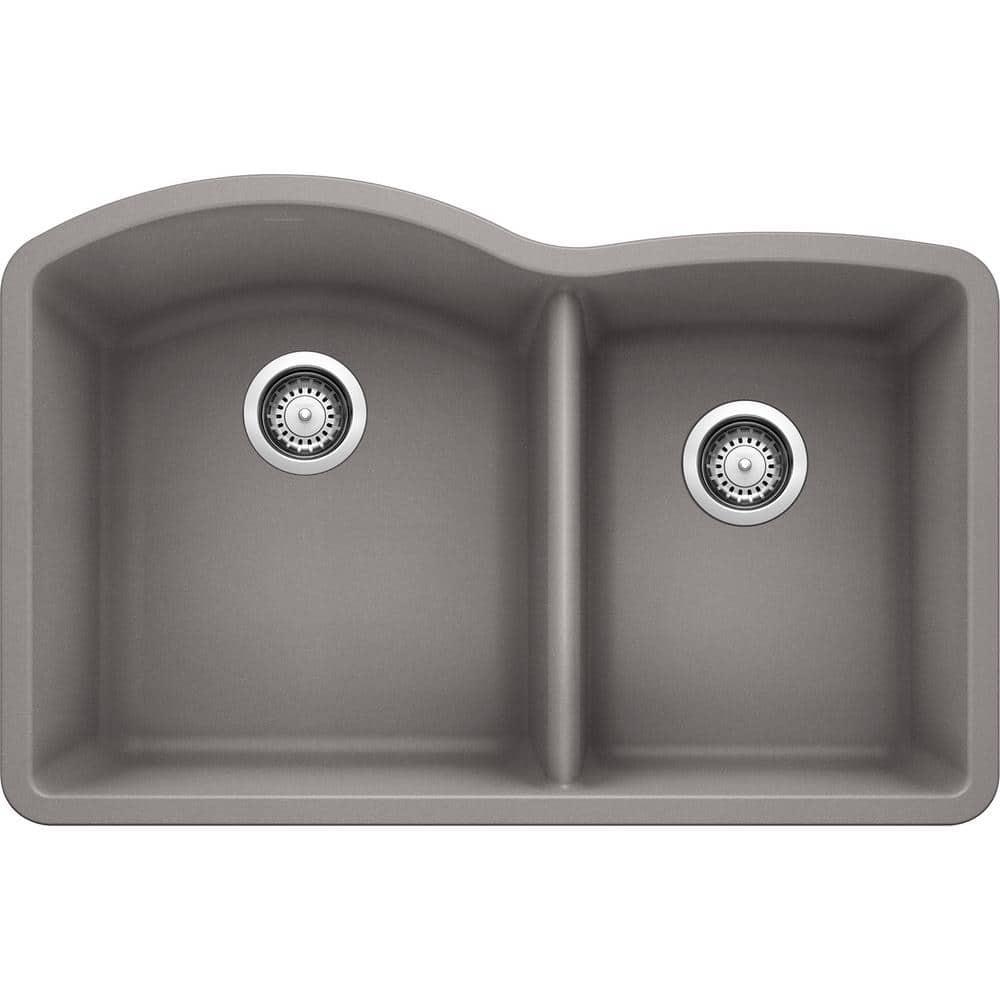 blanco diamond undermount granite composite 32 in 60 40 double bowl kitchen sink in metallic gray 440178 the home depot