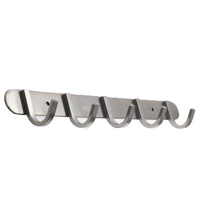 5 Square Hook Rack Modern Brushed Solid Stainless Steel