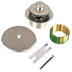1.625 in. Overall Diameter x 16 Threads x 1.25 in. Lift and Turn Bathtub Stopper with Bushing Trim, Brushed Nickel
