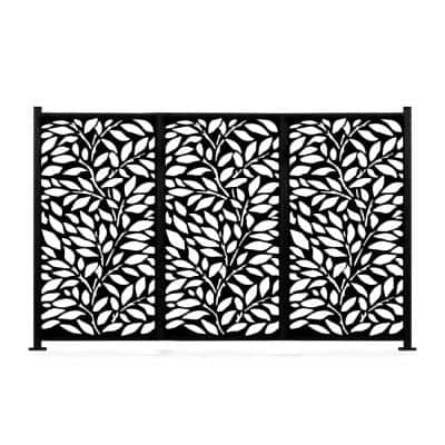 48 in. x 72 in. New Style MetalArt Laser Cut Metal Black Privacy Fence Screen Set, TreeLeaves, 2 Pole with 3 Panel