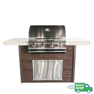 6 ft. 4-Burner Propane Grill Synthetic Wood and Granite Countertop Grill Island with in Stainless Steel