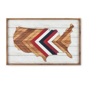 31.88 in. Length Wooden America Map Wall Decor