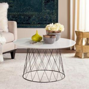 Roe Retro Mid Century 32 in. White/Black Medium Round Wood Coffee Table