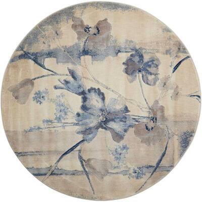Somerset Ivory/Blue 6 ft. x 6 ft. Floral Vintage Round Area Rug