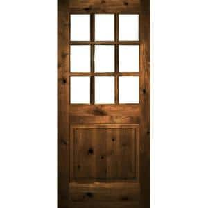 36 in. x 80 in. Rustic Knotty Alder Right-Hand Clear Low-E Glass 9-Lite Provincial Stain Wood Single Prehung Front Door