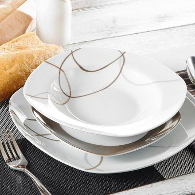 Nikita 18-Piece Casual Ivory White With Brown Lines Porcelain Dinnerware Set (Service for 6)