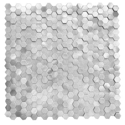 DIP Mini Nickel Hex Tile 12 in. x 12 in. Self-Adhesive PVC Backsplash (10 pack)