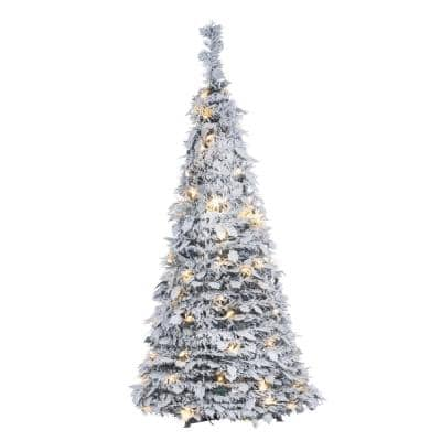 4 ft. H Pop-up Flock Pine with Holly Leaves